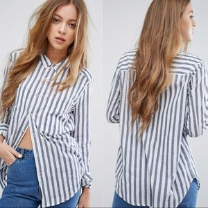 Rollas Striped Button Down Shirt